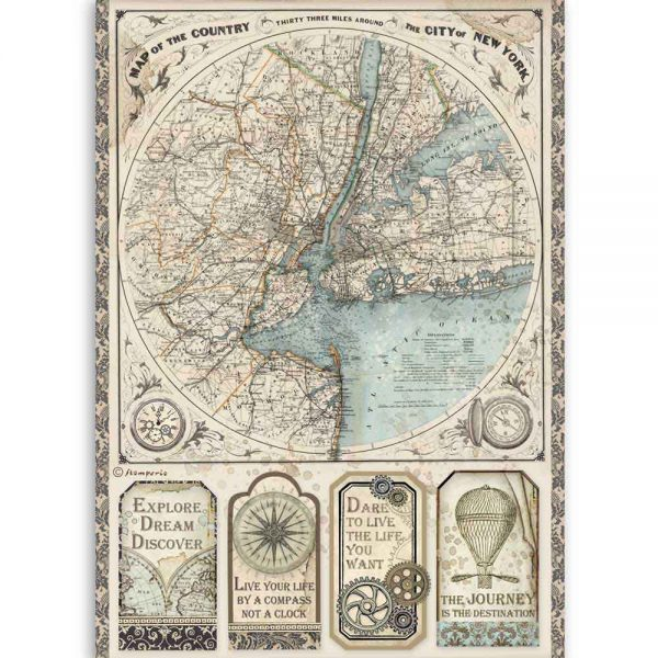 DFSA4515 Stamperia Rice Paper Map of New York