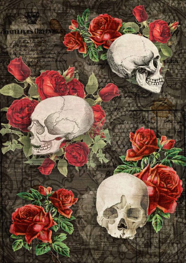 Decoupage Queen Gothic Skulls
